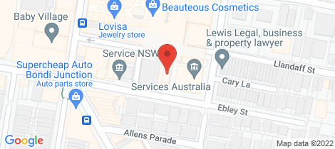 Location map for 15/108 Ebley Street Bondi Junction