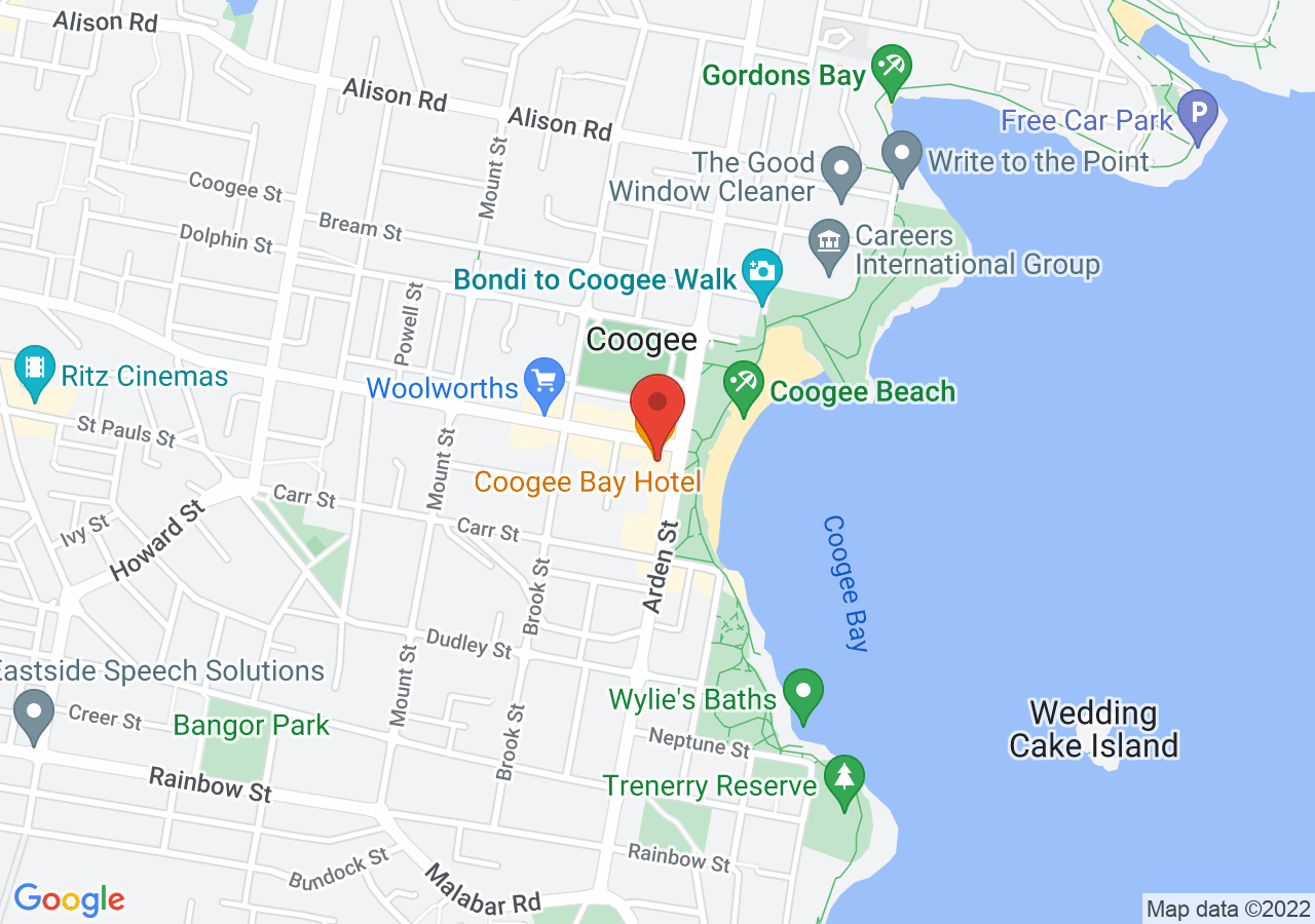 The location of Coogee Bay Hotel