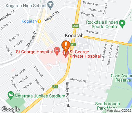 Map of St George Private Hospital in Kogarah
