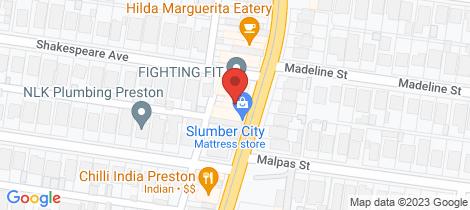 Location map for 585 Plenty Road Preston