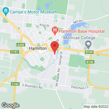 Map of O'Brien® Authorised Dealer Hec's Screens & Service at 2 Holden Street, Hamilton, VIC 3300
