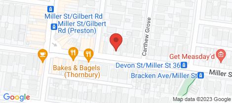 Location map for 92 Miller Street Preston