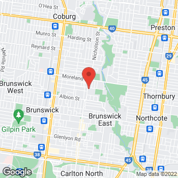 Map of O'Brien® AutoGlass Brunswick East at 54 Holmes St, Brunswick East, VIC 3056