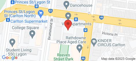Location map for 101/151 Princes Street Carlton
