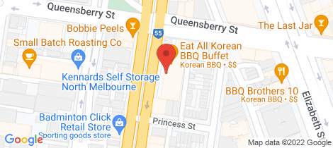 Location map for 114/150 Peel Street North Melbourne