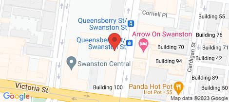 Location map for 702/551 Swanston Street Carlton