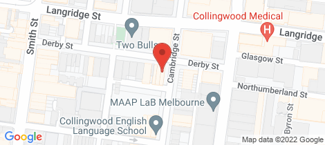 Location map for 1/45 Derby Street Collingwood