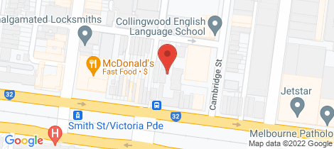 Location map for 606/45 Victoria Parade Collingwood