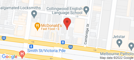 Location map for 604/45 Victoria Parade Collingwood