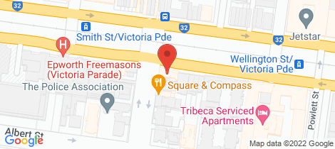 Location map for 11 & 12/228 Clarendon Street East Melbourne