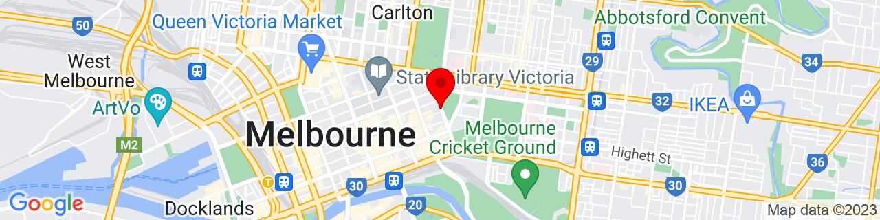 Google Map of -37.81120833333333, 144.97288333333333