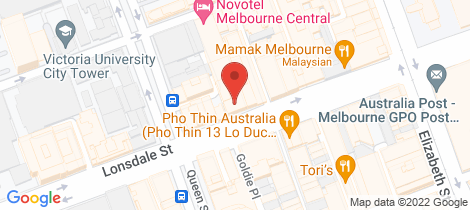 Location map for 208/408 Lonsdale Street Melbourne