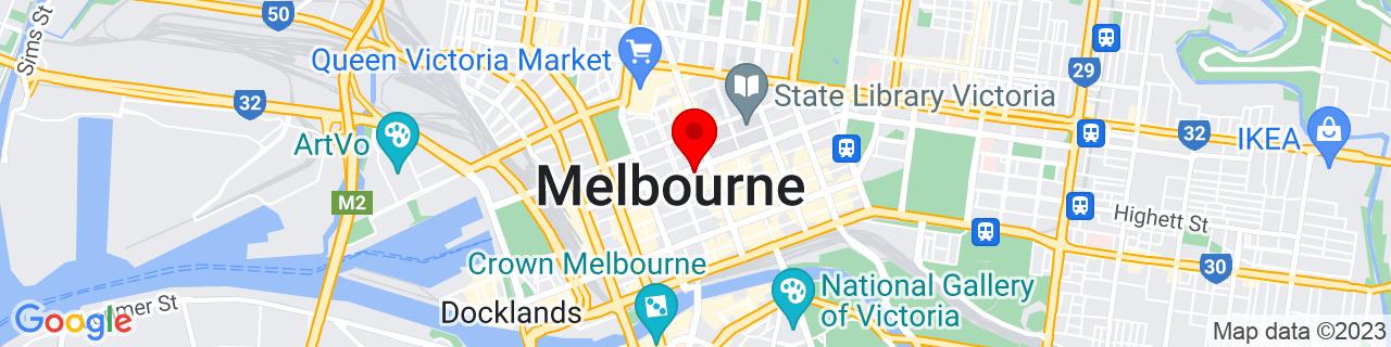 Google Map of -37.81290277777777, 144.9611111111111