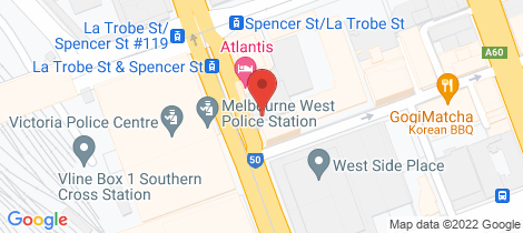 Location map for 3507/288 Spencer Street Melbourne