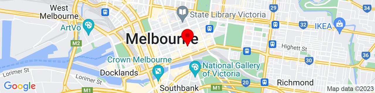 Google Map of -37.81549722222222, 144.96663888888887