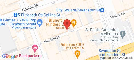 Location map for 103/258 Flinders Lane Melbourne