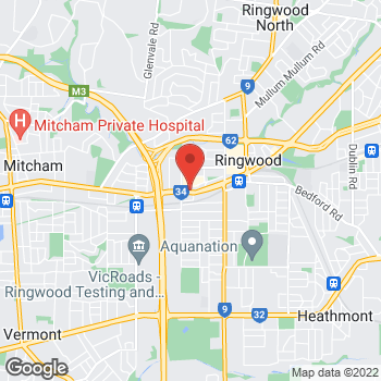 Map of O'Brien® AutoGlass Ringwood at 71 Maroondah Highway, Ringwood, VIC 3134