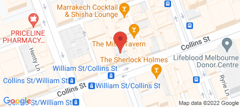 Location map for 604/422 Collins Street Melbourne