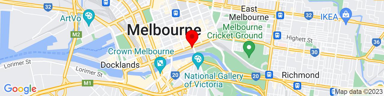 Google Map of -37.817775000000005, 144.967175