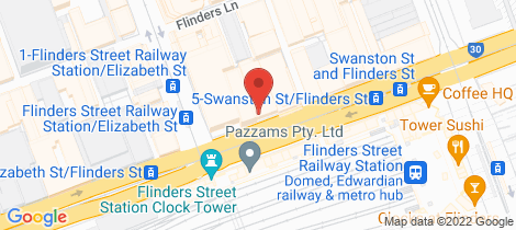 Location map for 205B/268 Flinders Street Melbourne