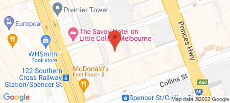 Location map for E40/601 Little Collins Street Melbourne