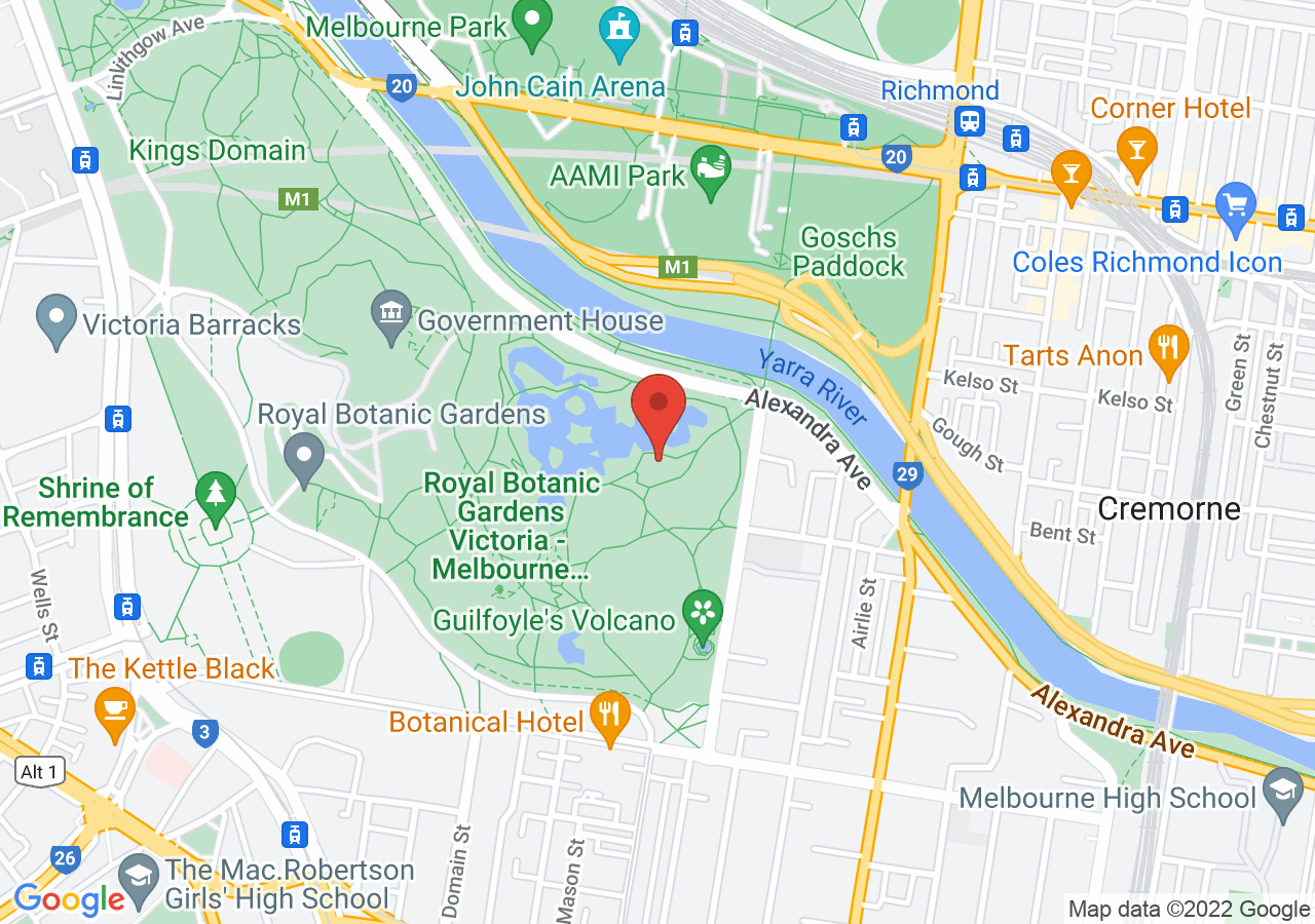 The location of The Terrace Royal Botanic Gardens Melbourne