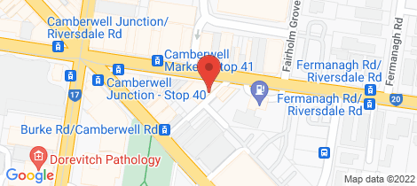 Location map for 1 536 Riversdale Road Camberwell