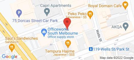 Location map for 31-33 Bank Street South Melbourne