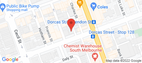 Location map for 232 Dorcas Street South Melbourne