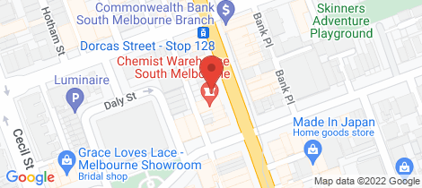 Location map for 306-308 Clarendon Street South Melbourne