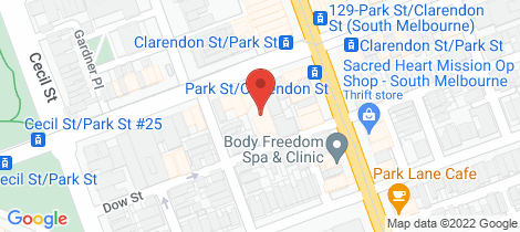 Location map for 219-221 Park Street South Melbourne