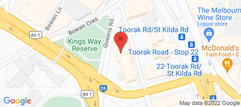 Location map for 225/1 Queens Road Melbourne