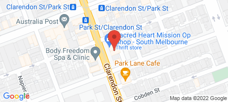 Location map for 371 Clarendon Street South Melbourne
