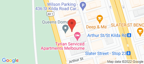Location map for 602/12 Queens Road Melbourne