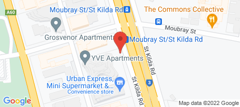 Location map for 302/576 St Kilda Road Melbourne