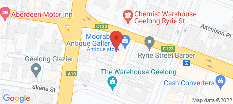 Location map for 14 Ryrie Street Geelong