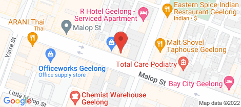 Location map for 181 Malop Street Geelong