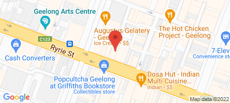 Location map for 93-95 Ryrie Street Geelong