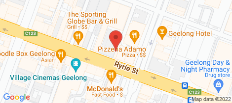 Location map for 197 Ryrie Street Geelong