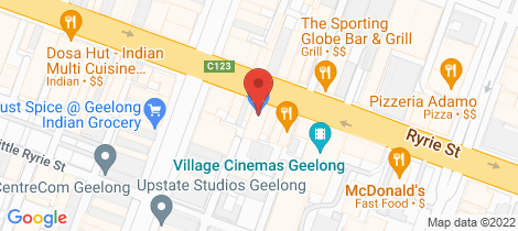 Location map for 174-176 Ryrie Street Geelong
