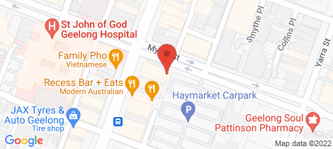 Location map for 138 Myers Street Geelong
