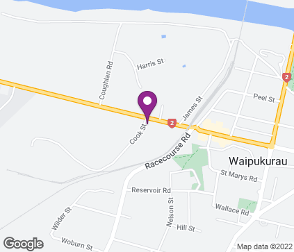 Map of Central Hawkes Bay Health Centre. 1 Cook Street in WAIPUKURAU