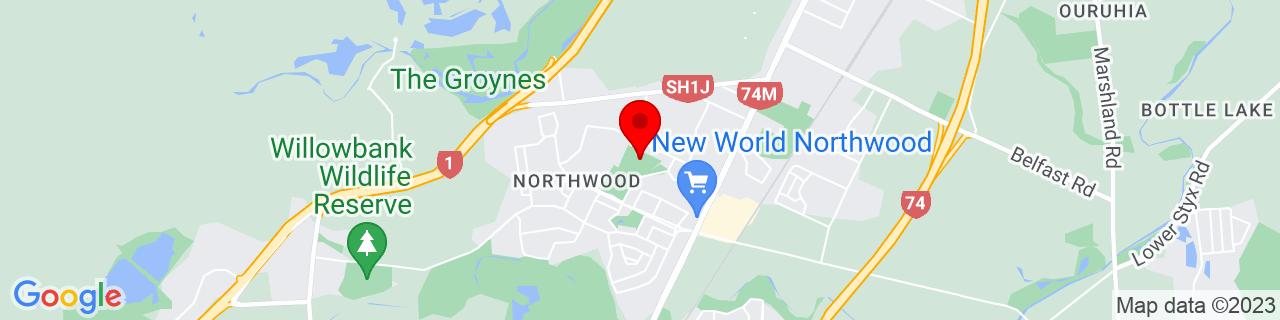 Google Map of -43.456158333333335, 172.61757222222224
