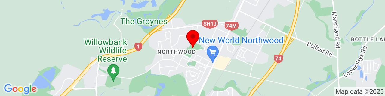 Google Map of -43.456672222222224, 172.61674722222222
