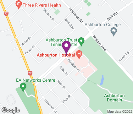 Map of Oak Grove Consulting Rooms, Corner Oak Grove and Elizabeth Street in Ashburton