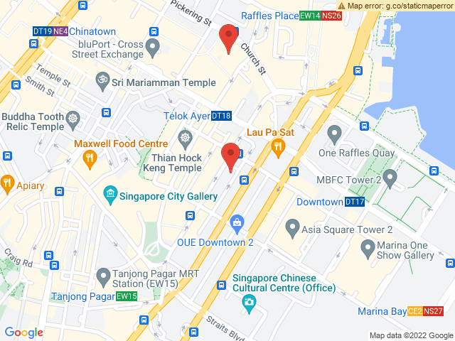 Map showing the Corexpert.sg office in relation to the AWS one in Singapore's CBD