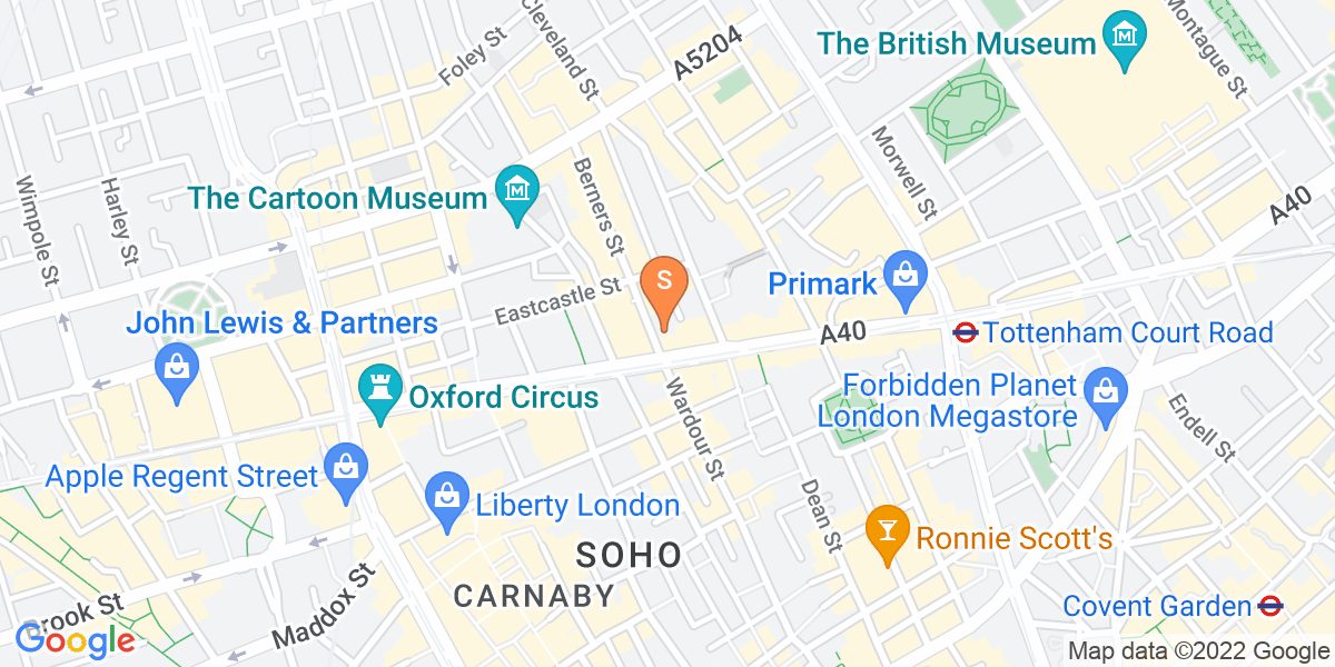 Google Map of 1 Berners Street London W1T 3LA