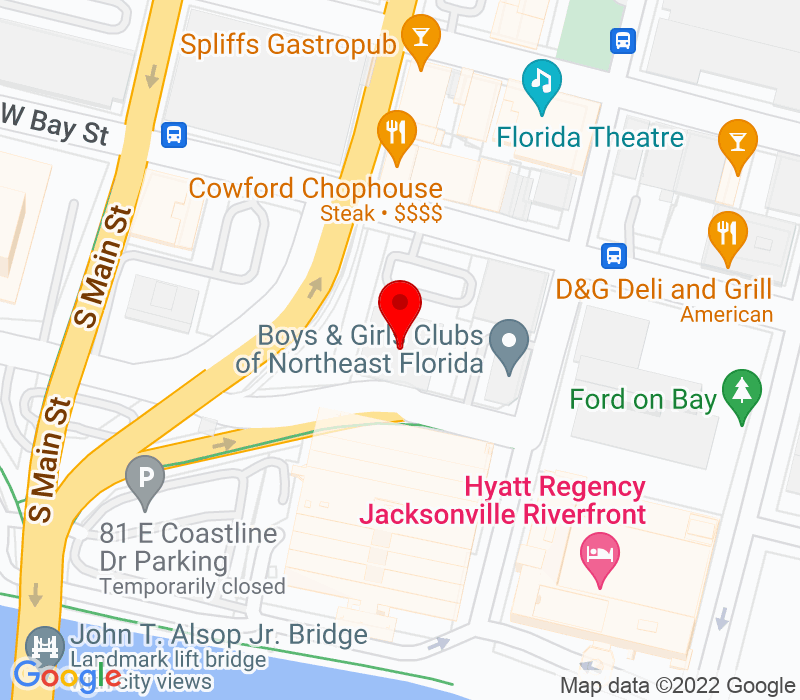 Click to view Google maps office address 1 Independent Drive, 20th Floor, Jacksonville, FL 32202