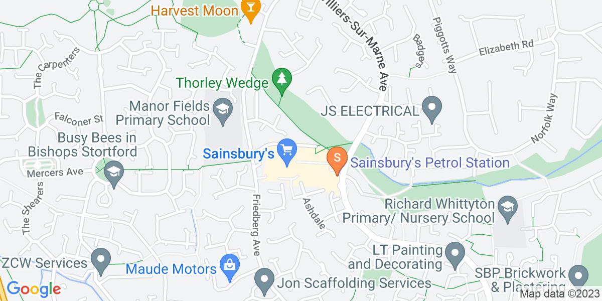 Google Map of 1 Thorley Neighborhood Centre Bishop's Stortford CM23 4EG