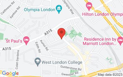 Map of 1 Vernon Mews, West Kensington, London W14 0RL, UK